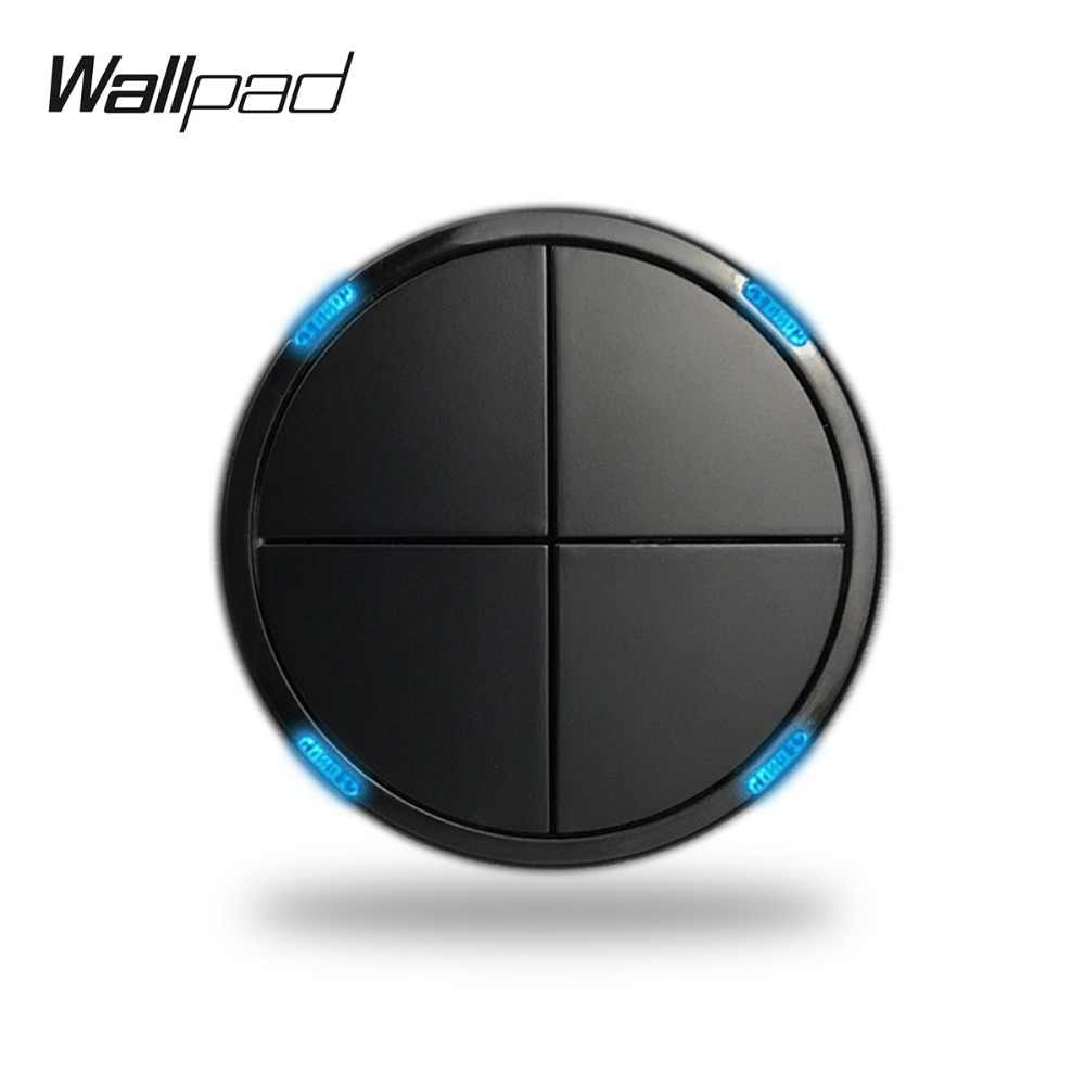 Wallpad L6 4 Gang 2 Way Modular Black White Push Return Button LED Wall Light Power Switch DIY Free Combination LED Indicator