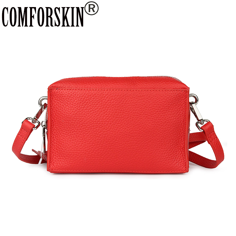 COMFORSKIN Brand Women Cross body Bag European And American Cowhide Leather Handbag Double Zippering Compartment Messenger