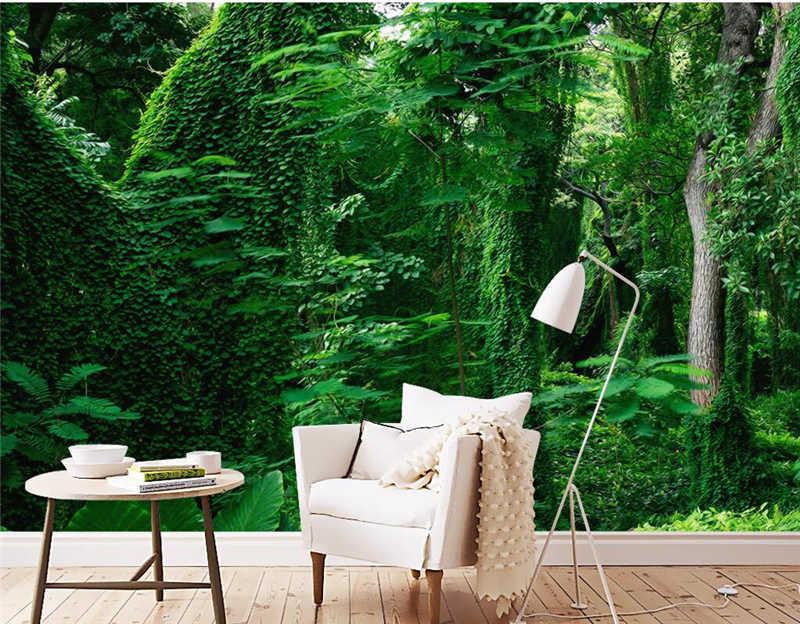 วอลล์เปเปอร์ที่กำหนดเอง Forest 3D ภาพจิตรกรรมฝาผนังทิวทัศน์ต้นไม้สีเขียว 3D ห้องนอนวอลล์เปเปอร์ภูมิทัศน์โซฟาโซฟาพื้นหลังวอลล์เปเปอร์ 3D