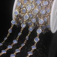 NEW! 3Meter/Lot 6mm K9 Optical Clear Blue Glass Faceted Coin Beads Plated Golden Rosary Chains,Flat Round Beaded Chain Necklace