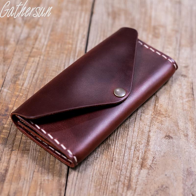 ФОТО Gathersun Brand Original Design Handmade Cowhide Wallet 100%Genuine Leather Women's Vintage Style Long wallet