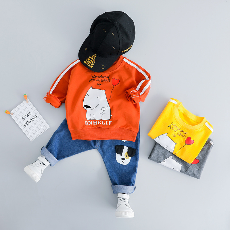 2019 New Brand Boys Kids Tracksuit 0-3T Age Cotton Cartoon Long Sleeve Two-piece Suits T-shirt+Jeans Boy Set Toddler Boy Clothes2019 New Brand Boys Kids Tracksuit 0-3T Age Cotton Cartoon Long Sleeve Two-piece Suits T-shirt+Jeans Boy Set Toddler Boy Clothes