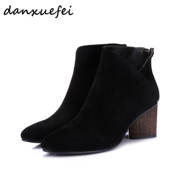 Women's genuine suede leather back zip autumn ankle boots brand designer med heel comfortable short booties plus size shoes sale