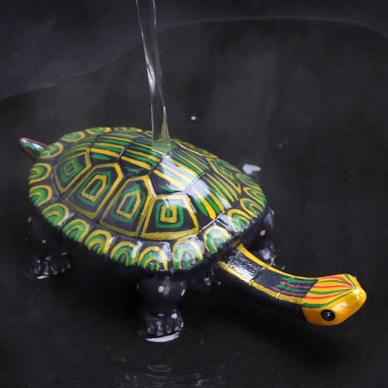 Yaratıcı seramik çay pet Uzun Boyunlu Kaplumbağa renk değiştirilebilir heykelcik yaratıcı seramik teapet çay tepsisi çay kurulu ev dekor heykeli
