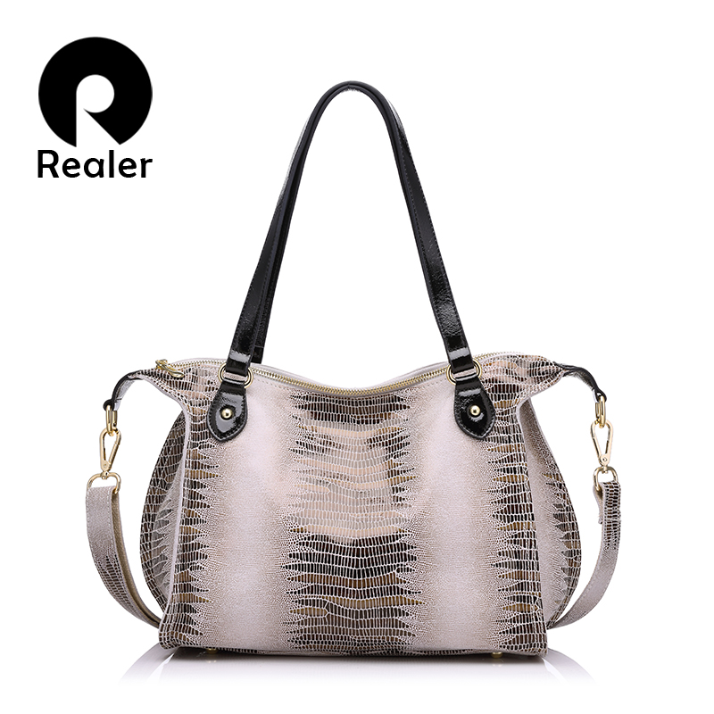 REALER brand fashion women genuine leather shoulder bags high quality crocodile pattern leather handbags female tote