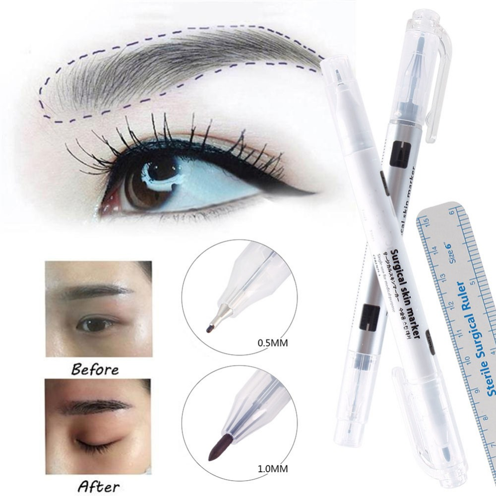 1Pcs Surgical Skin Marker Eyebrow Marker Pen Tattoo Skin Marker Pen With Measuring Ruler Microblading Positioning Tool #244859