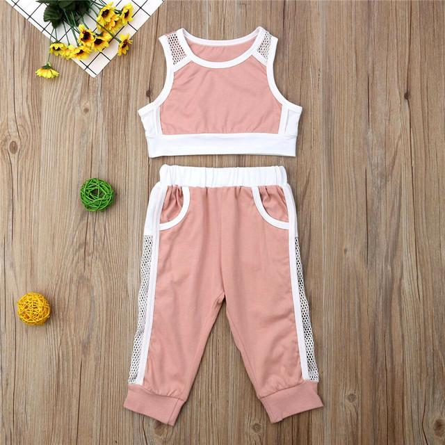 PUDCOCO Newest Girls Mesh Tracksuit Crop Tops+Long Pants 2Pcs Cotton Outfits Active Child Girls Sets Clothes 1-6T