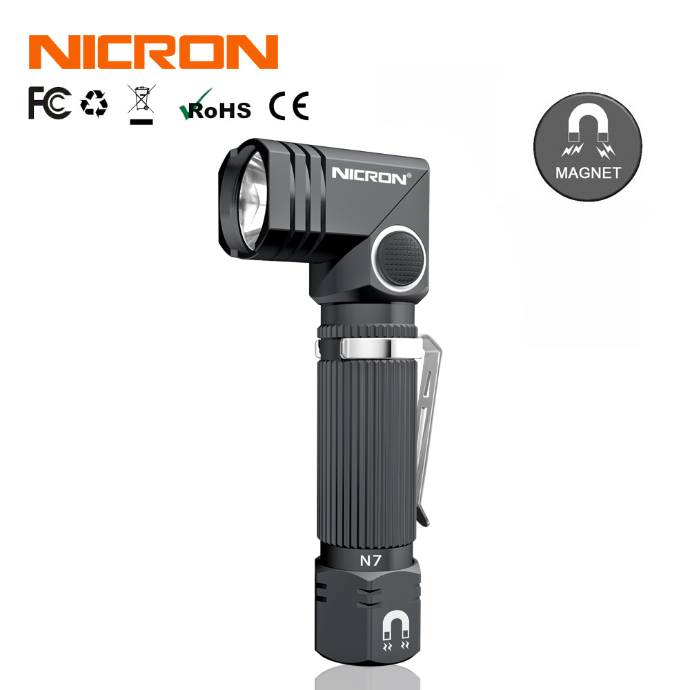 NICRON Dual Fuel 90 Degree Twist Mini Corner LED Flashlight With Magnet Bottom Waterproof IP65 For Outdoor Maintenance Use N7