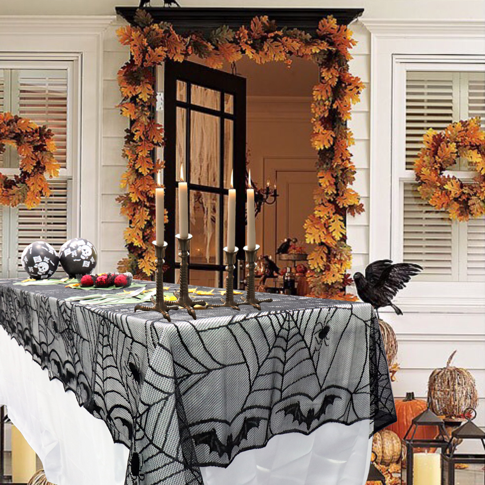 Halloween tablecloth - 1 Pcs Lace Black Spider Web Halloween Tablecloth Tablecover Overlay Rectangle 240 120 Cm Halloween