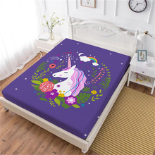 Dreamlike Unicorn Bed Sheet Colorful Cartoon Fotted Sheet Flowers Print Girls Sweet Bedclothes Purple Mattress Cover Home Decor цена