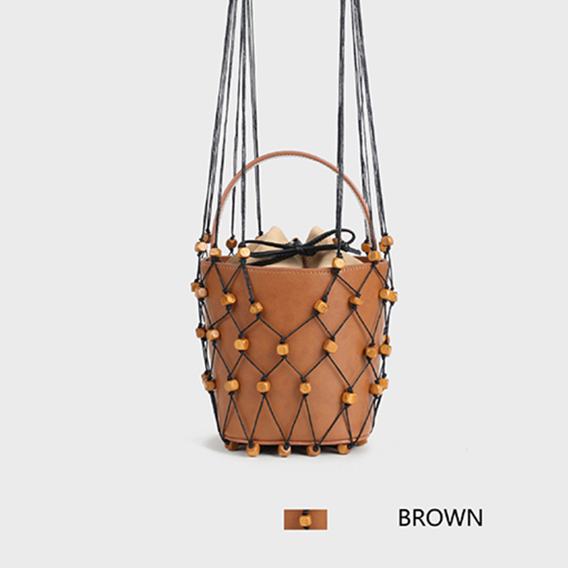 Blascher Summer Women Bags New Fashion Genuine Leather New Frosted Wooden One Shoulder Handbag Bead Hanging
