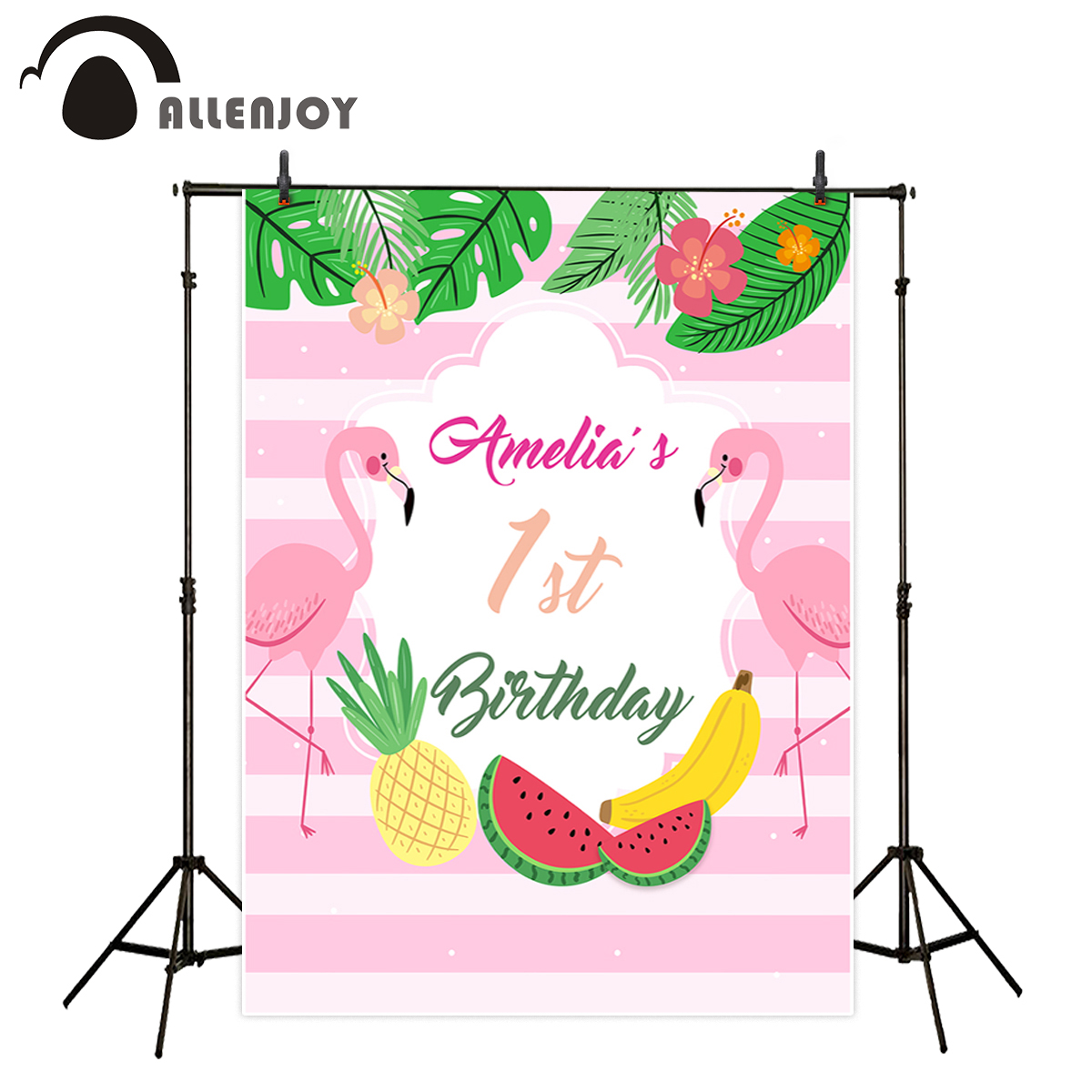 Allenjoy vinyl photo backdrops Pink striped plant watermelon birthday flamingo background photobooth newborn original design