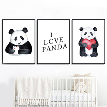Cartoon Panda Sketch Love Quotes Nordic Posters And Prints Wall Art Canvas Painting Nursery Pictures For Kids Room Decor