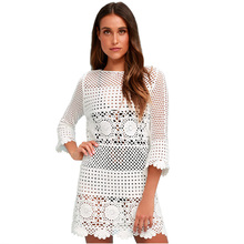 цены Beach Cover Up Dress Plus Size Women Hollow Out Flare 3/4 Sleeve Bikini Lace Crochet Boho Summer White Solid Slim Beach Dress