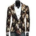 Новый Дизайн Мужские Blazer Цветочный Костюм Личности Случайный Пиджак Для Мужчин Blazer Slim Fit Куртка Мода 2016 ТОПЫ ПАЛЬТО