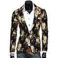 Nuevo Diseño Para Hombre de la Chaqueta Floral Traje Personalidad Chaqueta Casual Para Hombres Blazer Slim Fit Chaqueta de La Moda 2016 TOPS ESCUDO