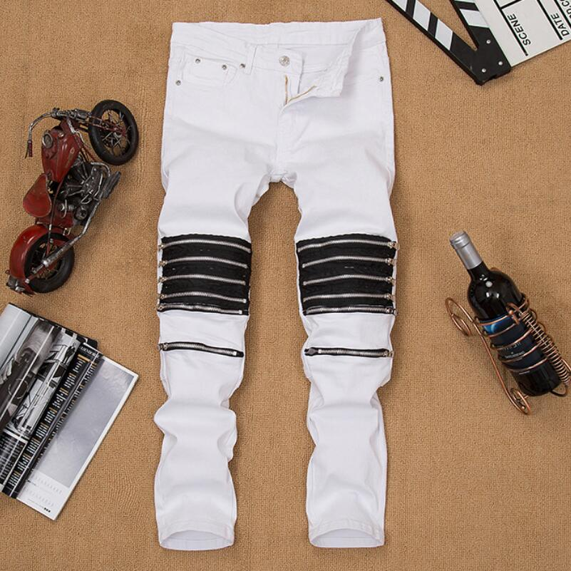 ФОТО Mens White Casual Jeans 2017 New Fashion Men Hole Zipper Ripped Stretch Jeans Men High Quality Cotton Club Singer Costumes Pants