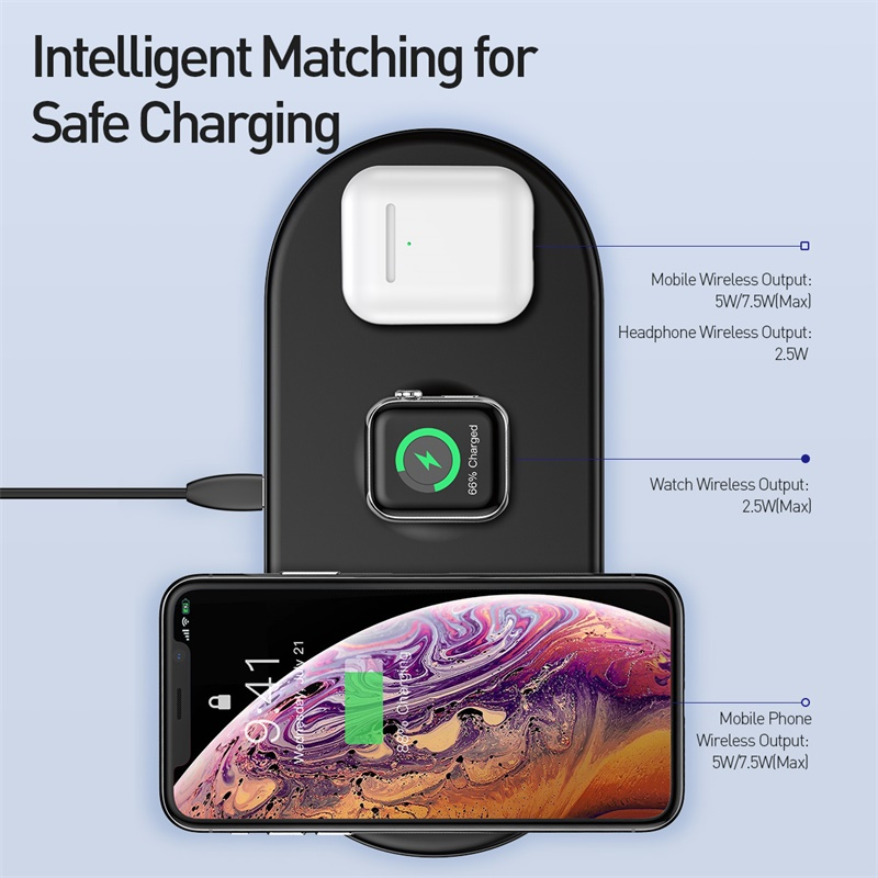 baseus fast wireless  3 in 1 charging pad for iphone x xs max xr 8 airpods and apple watch