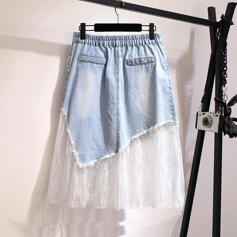2XL-6XL Frauen Plus Größe Denim Röcke 2019 Casual Sommer Frauen Große größe Mesh Röcke Elastische Taille Loch 5XL Denim Röcke faldas