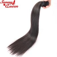 Малайзии virgin волос прямые Человеческие волосы Связки 10-24 дюйм(ов) натуральный черный Цвет Sunny Queen продуктов 1 шт. только