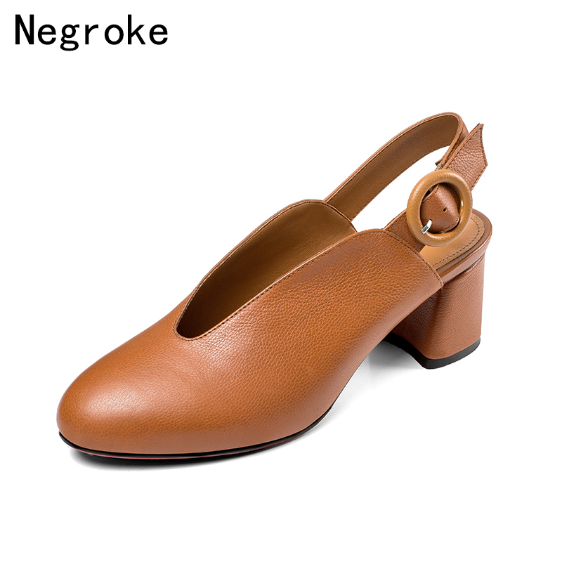 Brand 100 Genuine Leather Slingbacks Women Sandals 2019 Summer Office Lady Pumps Female Retro Block High