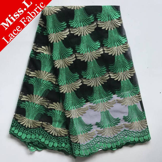 Miss.L Latest BIG SALE African tulle lace fabric with Embroidered Rhinestones French Guipure lace fabric for wedding dress Party