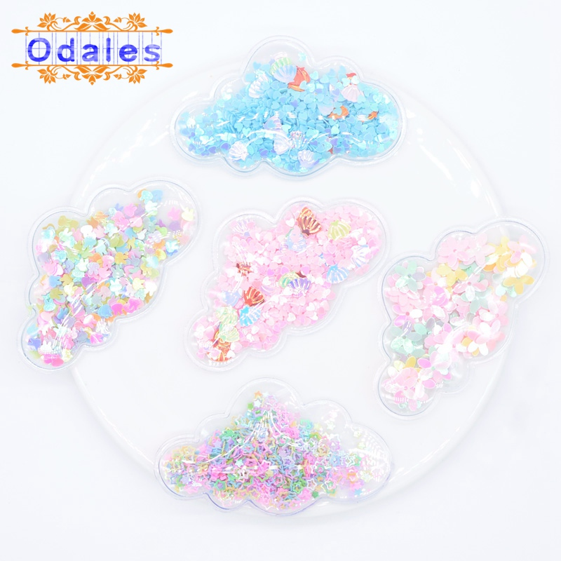 5Pcs Transparent Bling Bling Sequin inside Cloud Patches Appliques Baby Clips and DIY Hairwear Accessories Cake Toppers Supplies