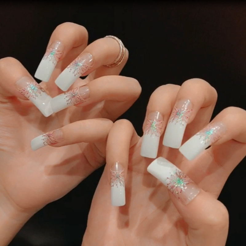 Extra Long Fake Nails White Clear Moo Square Top Lady False Nails ...