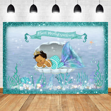 NeoBack Mermaid Baby Shower Backdrop Under Sea Photography Background Vinyl Party Banner Backdrops