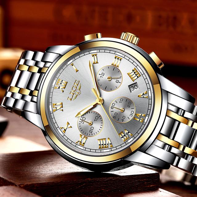 Relogio Masculino LIGE Men's Watches Business Luxury Brand Watch Mens Quartz Stainless Steel Clock Fashion Chronograph Watch Man