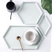 Геометрия офисный стол поднос для хранения скандинавский красочные металлический стол фруктов лоток для хранения бисквита Органайзер