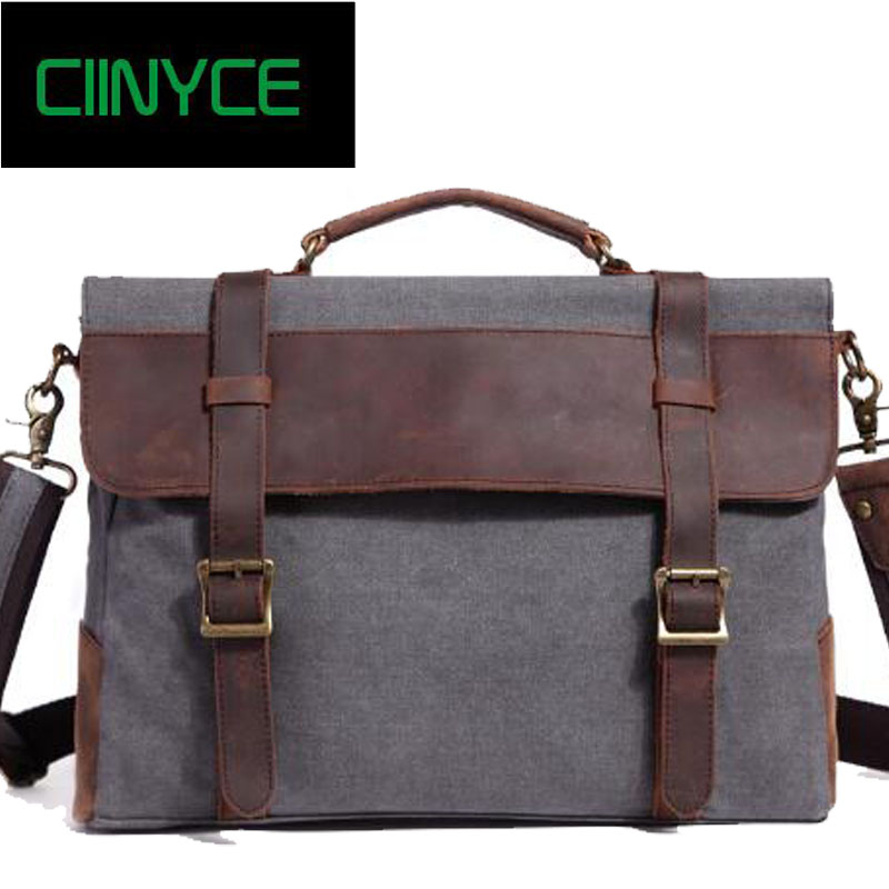 Time-limited New Arrival Vintage Crossbody Bag Military Canvas Crazy Horse Leather Men Messenger Handbag Tote Briefcase vintage crossbody bag military canvas genuine leather shoulder bags men messenger bag men leather handbag tote briefcase