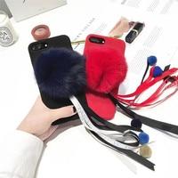 Lovely Fox Hair Ball 3D Soft Velvet Colored Ribbon Mobile Phone Cases For IPhone7 7Plus 6