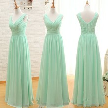 3 Styles Chiffon Green Long Bridesmaid Dresses A Line Junior Girls Bridesmaids Gowns Hollow Back Floor Length Custom Party Dress