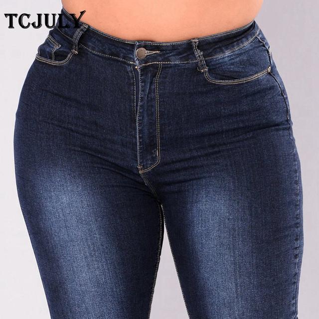Cotton Plus Size 2XL -7XL Women Elegant Stretchy Casual Sexy Modern Denim Jeans