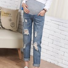 fba0279ba282c (Ship from US) Casual Pregnant Woman Ripped Jeans Female Maternity Pants  Trousers Nursing Prop Belly Legging Autumn Clothes ropa maternidad