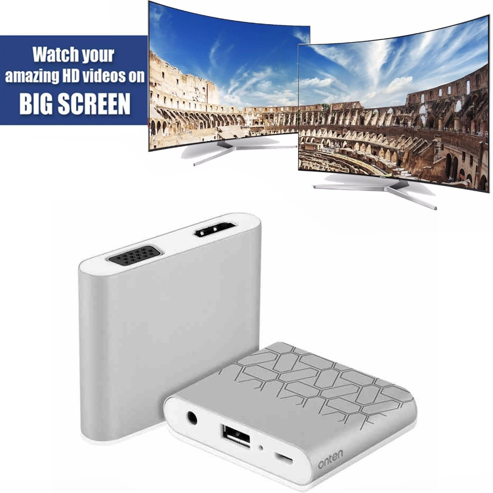 Digital Av Adapter Telefoon Tablet Audio Video Naar Hdmi Tv Projector Vga Voor Iphone 5 6 7 Plus 8 Plus Ipad Samsung S8 S8 + Lg Android