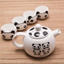 [ 1 Pot + 4 Cups] 2017 Hot Sale Lovely Chinese Ceramic Panda teapot cup tea set Drinkware Souvenir Gift tea water bottle посуда drinkware tableware teaware 1 x chahai 6 water tea pot set