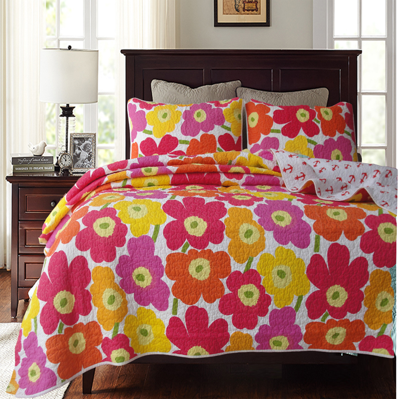 cuci air katun seprai dicetak bunga quilting quilts bedcover king size bed cover keren warna