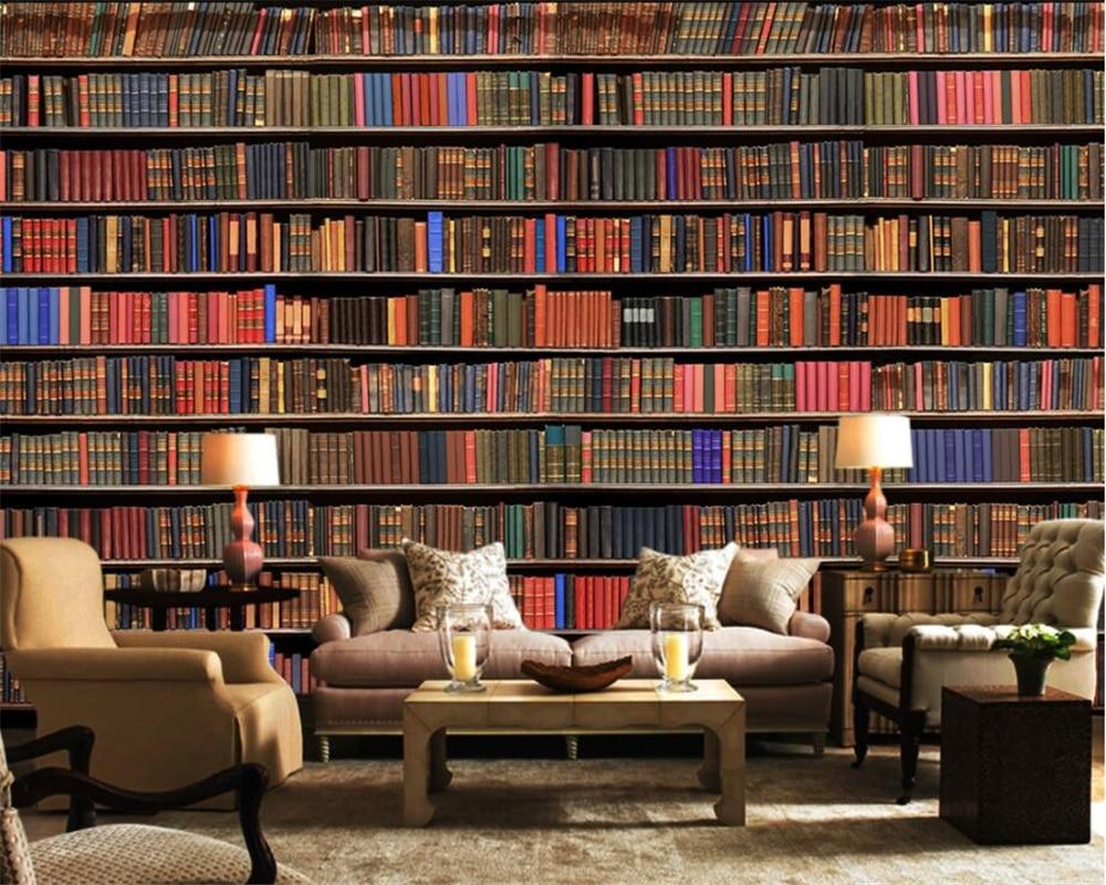 bookshelf bookcase background wall living tv 3d custom mural stereo zoom beibehang modern wallpapers