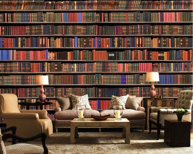 Boekenkast Behang Woonkamer : Beibehang hoge kwaliteit aangepaste behang d stereo boekenkast