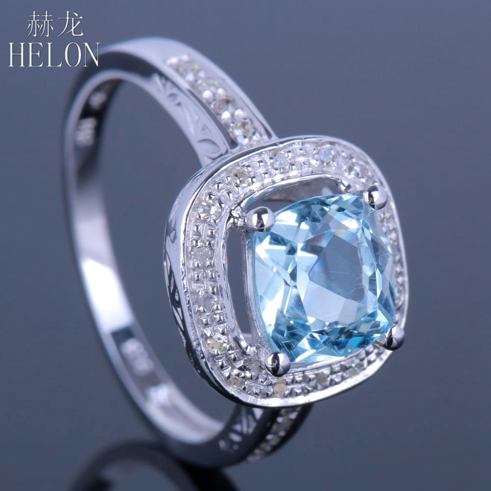 HELON Sterling Silver 925 Cushion Cut 1.9ct Sky Blue Topaz Diamonds Engagement Wedding Ring for Women Elegant Fine Jewelry Ring helon sterling silver 925 flawless 11x9mm emerald cut 4 36ct real blue topaz natural diamond engagment wedding ring fine jewelry