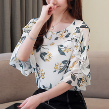 Blusas Fashion Women Shirt Floral Top Female Short Sleeve Chiffon Womens Tops and Blouses