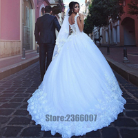 Robe De Mariage 3D Flowers Vintage Ball Gown Wedding Dresses 2018 Bridal Gowns Beaded Plus Size Wedding Dress Gowns Trouwjurk