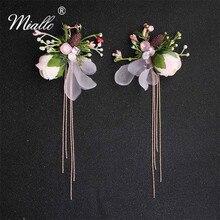 Miallo 2019 Fashion Wedding Simulation Flowers Earrings Rhinestone Bridal Artificial Pink Drop for Bride