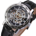 Creative Watches Men Classic Men Black Leather Dial Skeleton Mechanical Sport Army Wrist Mechanical Watch