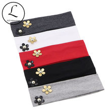GZHilovingL 2018 New Fashion Cute Baby Kids Girls Pearl Flower Cotton Wide Headband Solid Flower Hair Band Accessories Headwear(China)
