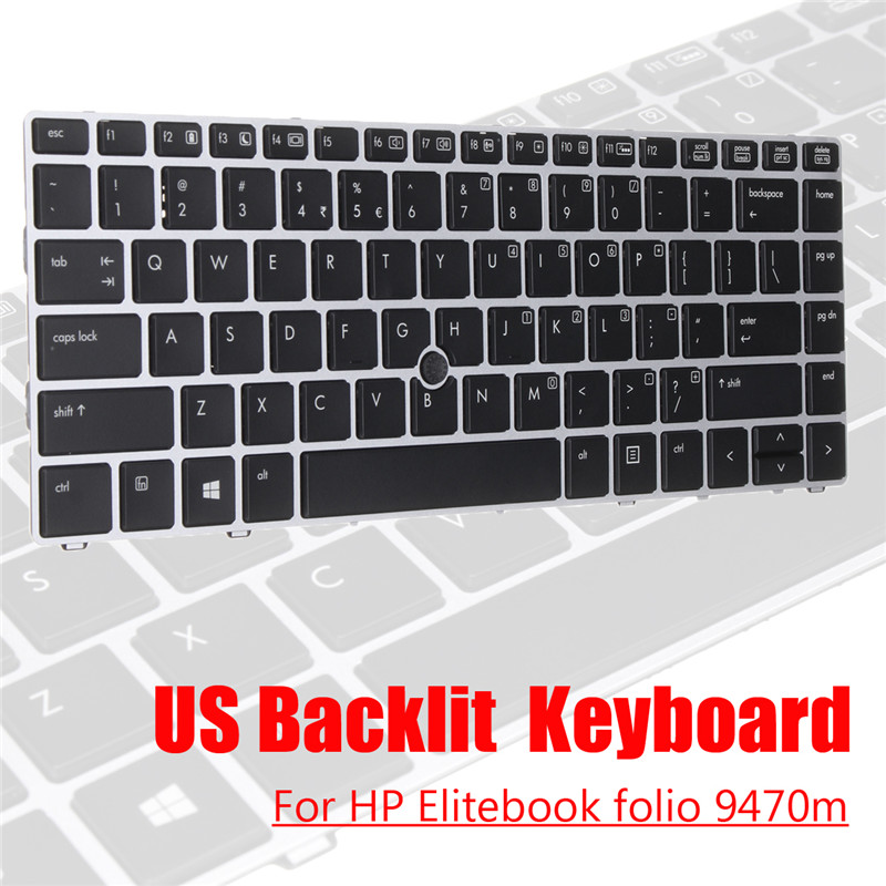 Backlit Keyboard Notebook Laptop US for HP Folio 9470m PC 697685-001 Computer Peripherals