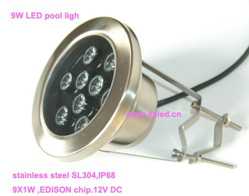 Free shipping by DHL !! Good quality,IP68,9W underwater LED light,LED pool light,with hoop,12V DC,DS-10-30-9W,stainless steel free shipping by dhl ip68 stainless steel high power 9w led swimming pool light underwater led light ds 10 1 9w 3x3w 12v dc