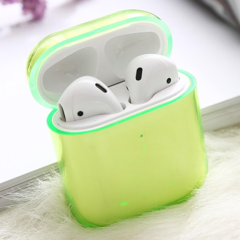 Для Apple Air pods зарядный футляр для наушников жесткий прозрачный беспроводной Bluetooth чехол для наушников для Airpods чехол - Цвет: Green